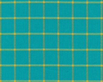 Fabric-Yarn Dye Plaid Broadcloth in Turquoise/Amber - Cloud9 Fabrics