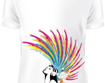 White T-shirt - Punky Girl colored hair - B-WD-019