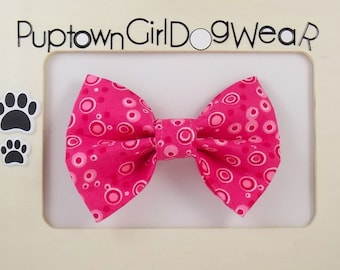 Pink Dog Bow Tie Cat Bow Tie Dog Collar Bow Tie Cat Collar Bow Tie Velcro Bow Tie