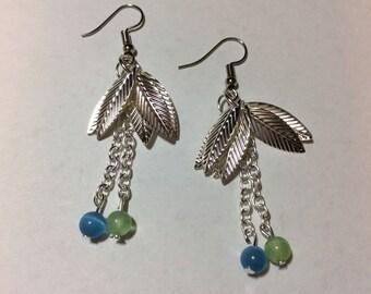 """""""Silver leaves and cat eyes"""" Stud Earrings"""