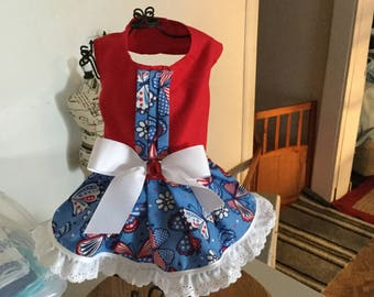 Puppy buns patriotic 4th of July butterflies w/ trim and red bodice harness dog dress small  ready to ship
