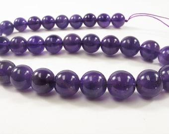 8 mm OR 10 mm Smooth Round Amethyst Semi Precious Stone Beads, February Birthstone, Natural Genuine Purple Gemstone Beads (486-AMYST0810)