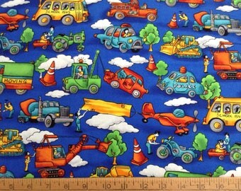 1 and 2/3 yards of cars and trucks juvenile cotton fabric