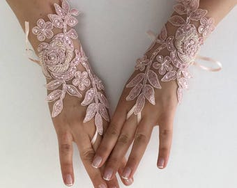 EXPRESS SHIPPING Wedding gloves beaded pearls Pink, White or Ivory  bridal gloves lace gloves fingerless gloves french lace gloves