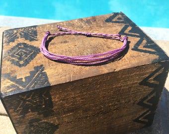 Lilac Basic Stackable Bracelet, Wax String Bracelet, Friendship Bracelet, Waterproof Bracelet