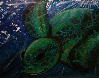 Turtle in The Sea Painting