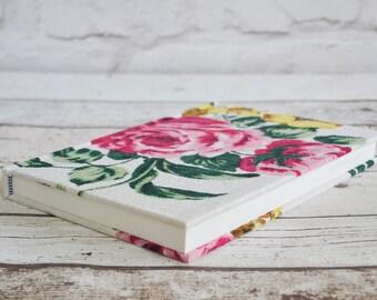 Vintage barkcloth floral notebook A5, handmade floral fabric covered sketch book A5, vintage bark cloth journal, A5 sketchbook in pink rose