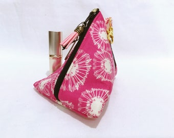 Hot Pink Dandelion Cosmetic Bag, Make up Bag, Small  Make up Bag, Triangle Shape with Lobster Clip, Gift for Her, Coin Purse.
