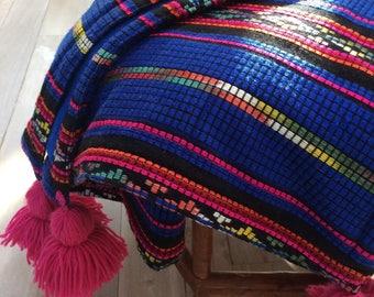 Woven Mexican aztec fleece boho throw wrap blanket