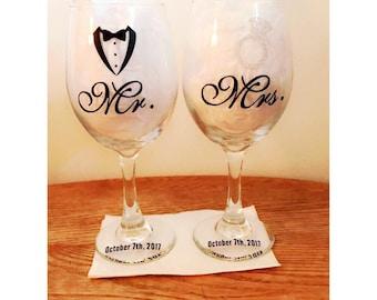 """Handmade """"Mr"""" and """"Mrs"""" Matching Wine glass Set"""