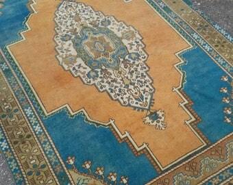 "OUSHAK RUG, Turkish Nomadic Rug Primitive Handknotted Floor Rugs, 213 x 140 cm/6'9"" x 4'5""feet,Turkish Vintage Rug,Home Living,Oushak Rugs"