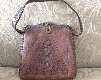 Vintage Brown Leather Cross Purse