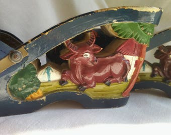 Collectable vintage1940 oriental Shoes art handmade - carved painted wood - embroidered canvas top sandle open wedge heel of a village  !?!!