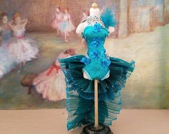 Miniature dollhouse teal dance costume, 1:12 scale