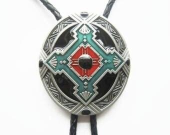 Western Bolo Tie Cross Knot Geometric Tribal Oval Pendant Design Genuine Leather Enamel Neck Tie