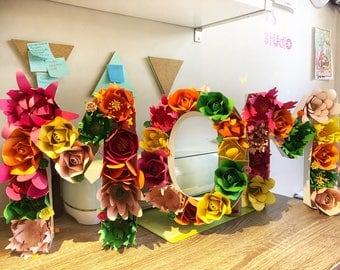 3D Letter, Custom Floral Letter, Baby Shower Letter, Nursery Decor, Paper Flower Monogram, Paper Flower Letter, Wall Deco