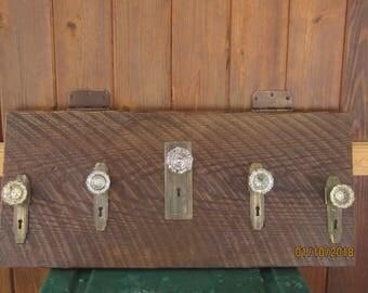 Barn Wood w/Vintage Glass Door knobs and Antique hardware Hanger