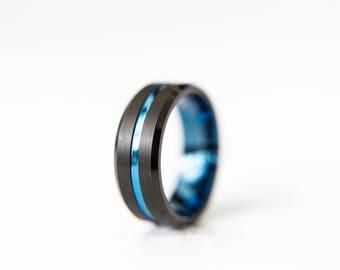 Blue Ion Black Tungsten Wedding Band Blue Tungsten Ring Men & Women Tungsten Carbide Ring Anniversary Ring Black Tungsten Ring