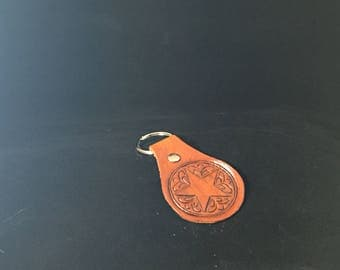 Hand Tooled Leather Key Fob - Texas Star