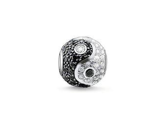 Yin Yang Charm - Yin Yang Symbol Charm - Black & White Charm - Silver Yin Yang Charm - Rhinestone Yin Yang Bead -  fits all Charm Bracelets