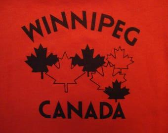 Vintage 80's Winnipeg Canada Tourist Souvenir Red T Shirt Size L