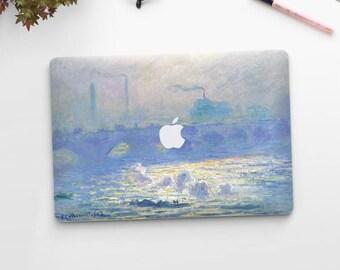 """Claude Monet, """"Waterloo Bridge"""". Macbook 15 skin, Macbook 13 skin Pro Air, Macbook 12 skin. Macbook decal. Macbook Art skin."""
