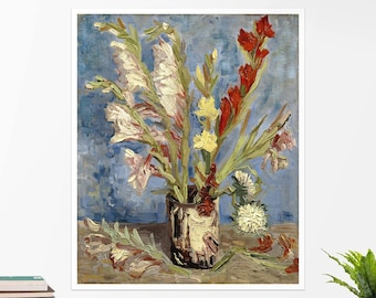 "Vincent Van Gogh, ""Vase With Gladioli"". Art poster, art print, rolled canvas, art canvas, wall art, wall decor"