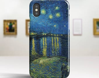 """Vincent Van Gogh, """"Starry Night over Rhone"""". iPhone X Case Art iPhone 8 Case iPhone 7 Plus Case and more. iPhone X TOUGH cases."""
