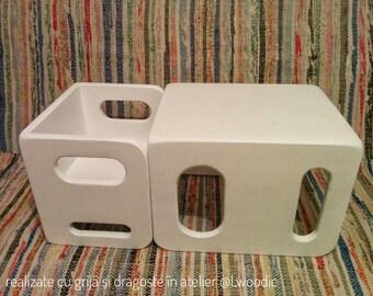 Montessori White Cube Chair Set - 1 large, 1 small