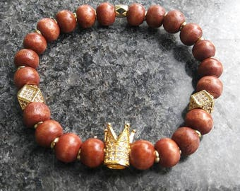 Woodgrain beads with gold crown