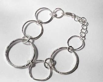 Sterling Silver Hoop Bracelet/Handmade Bracelet/Different Sized Hoop Bracelet/Gift for Her/Silver Bracelet/Silversmith Hoop Jewellery