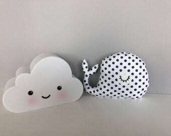 Decorative whale pillow, toy, plush