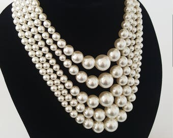 Beautiful Vintage 5 Strand Faux Pearl Necklace Faux Pearl Necklace Classy Faux Pearl Jewelry Estate Jewelry Costume Jewelry Fashion Jewelry