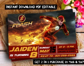 The Flash Birthday Invitations, The Flash Invitation Instant Download, The Flash Editable Invitation, Flash Birthday Invitation, Flash Party