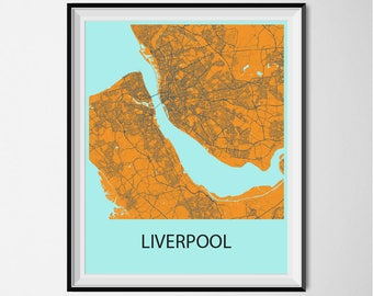 Liverpool Map Poster Print - Orange and Blue