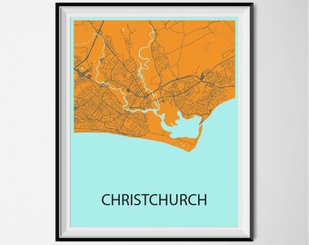 Christchurch Map Poster Print - Orange and Blue