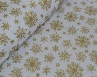 Snowflakes - Gold - Christmas - fabric