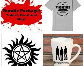 Supernatural Winchester Brothers Bundle Gift Package Unisex Shirt Decal Mug Present Horror Lover Decor Halloween Merch Massacre
