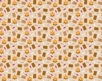Happy Camper Smores Flannel - Riley Blake - Camping - Doodlebug Designs - Cotton Flannel