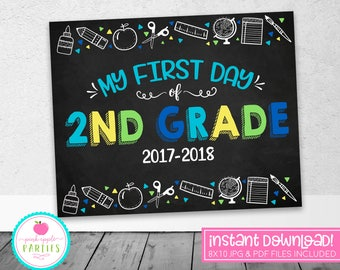 First Day of 2nd Grade Chalkboard Sign - First Day Sign - Blue, Green, Yellow, Turquoise - 8x10 Instant Download Printable Sign