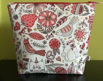 "Handmade large zipper pouch for knitting and crochet project 11.5"" x 7.5"" x 9.5"" x 3.5""  *Doodlepop*"