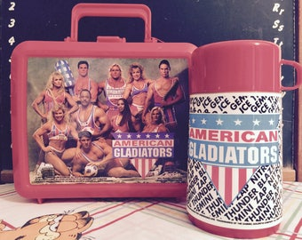 RARE UNUSED Vintage 1992 American Gladiators Red Plastic Lunchbox with Thermos