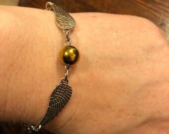 Harry Potter Inspired Golden Snitch Bracelet - Natural Gold Hematite - Stainless Steel