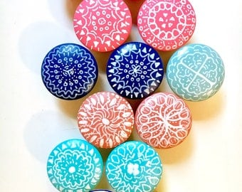 Cabinet knobs, custom knobs, boho mandala hand painted, wooden drawer pulls, yellow blue red pink aqua turquoise coral white green gray navy