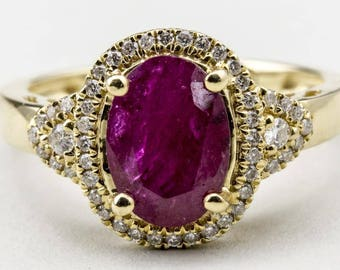 14k yellow gold ring with oval Ruby