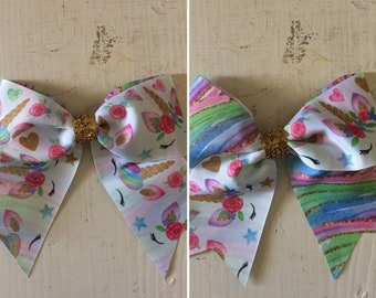Unicorn Cheer bow