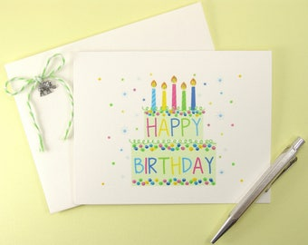 Happy Birthday Note Card Set - Set of 4 Hand Painted Note Cards with Envelopes