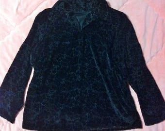 90s Vintage Black Velvet Burnout Floral Shirt Blouse, Vintage Black Velvet Floral Shirt Blouse Tunic, Black Velvet Burnout Blouse