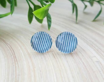 Blue and White Striped Cabochon Stud Earrings, Dome Earrings, Round, Surgical steel, Nickel and lead free