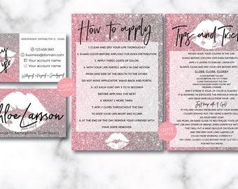 Lipsense business card bundle, tips and tricks, application instructions, marketing branding kit, Glitter